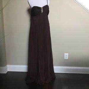 LA BELLE brown pleated chiffon prom gown dress 8